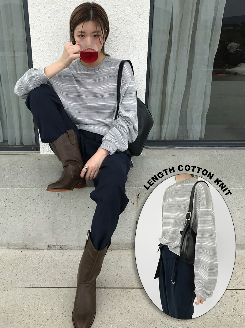 [UNISEX] LENGTH COTTON KNIT (gray/black)