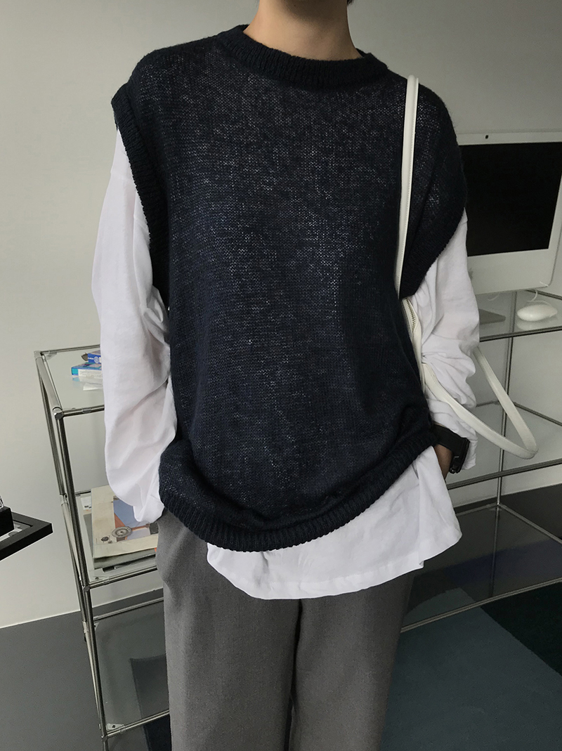 FOAMING KNIT VEST (navy / brown)