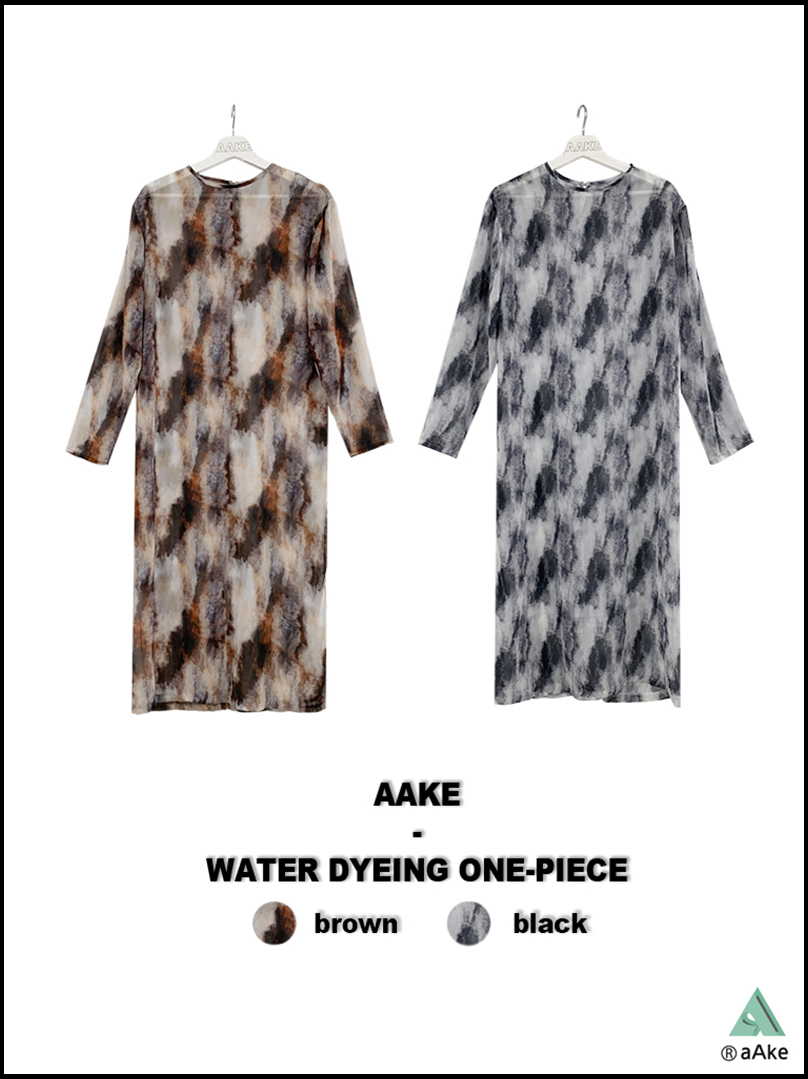 WATER DYEING ONE-PIECE (brown / black)