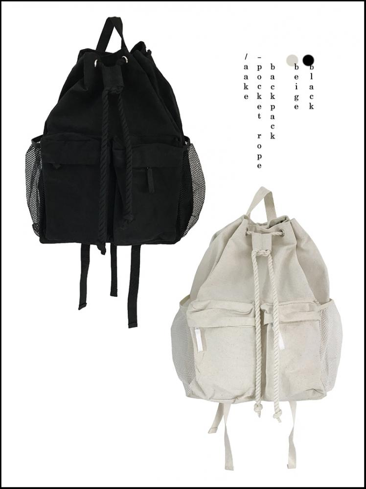 POCKET ROPE BACKPACK (beige/black)