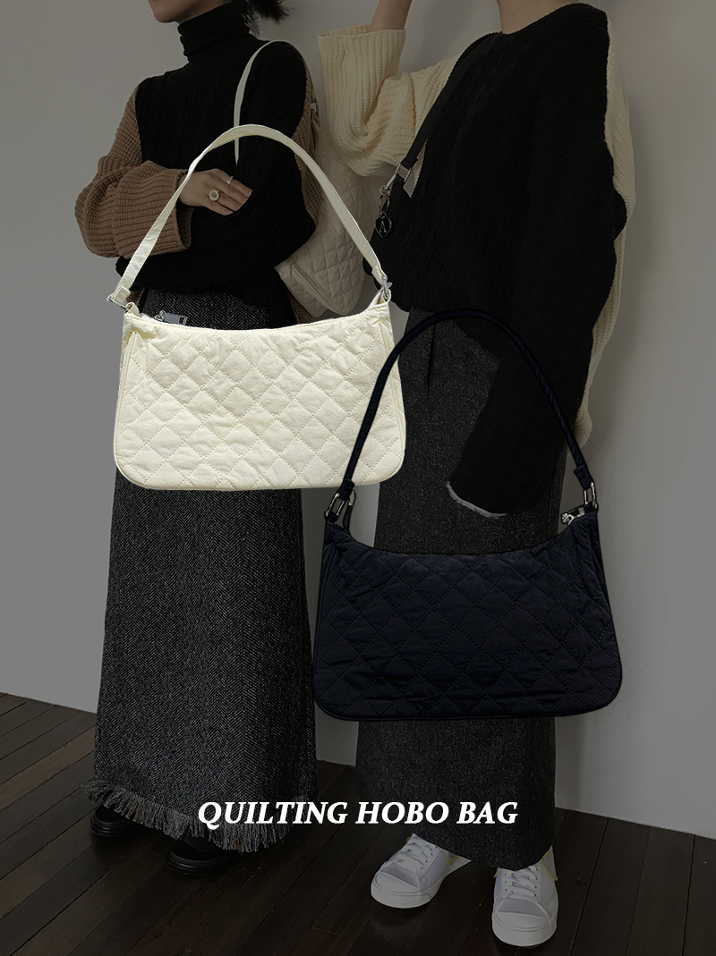 QUILTING HOBO BAG (ivory / black)