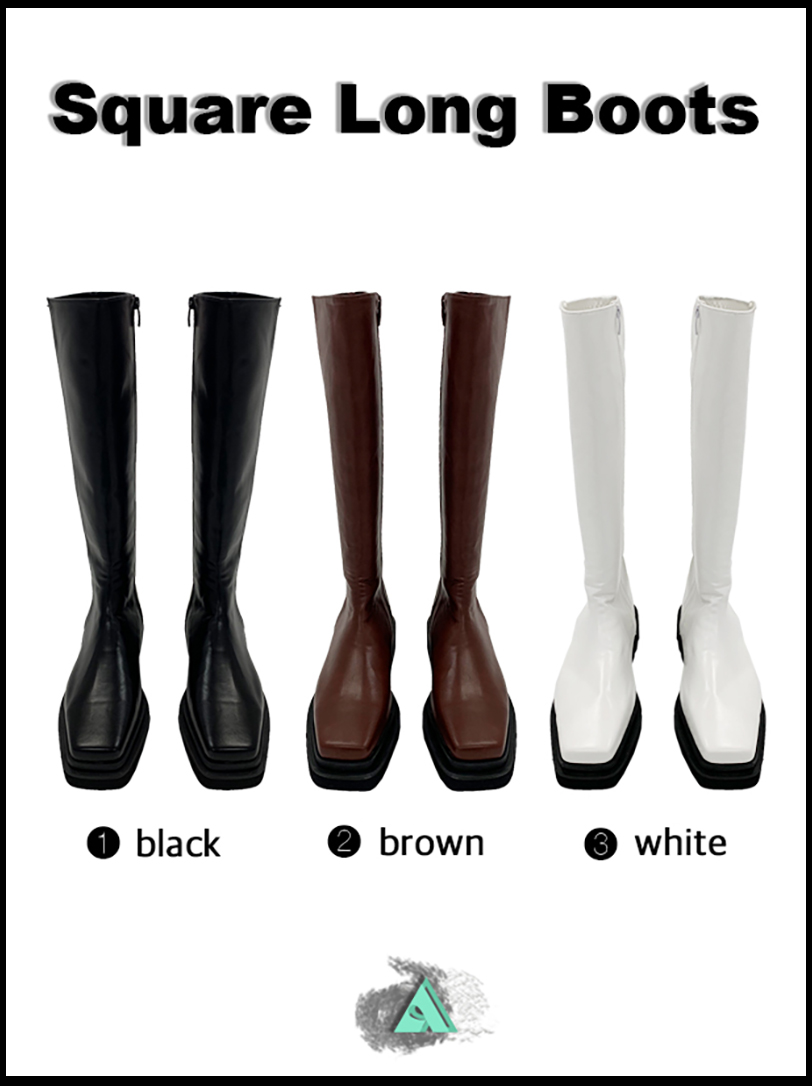 SQUARE LONG BOOTS (3color!)
